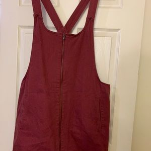 *PLUS SIZE* SIZE 3X MAROON OVERALL DRESS ZIP UP